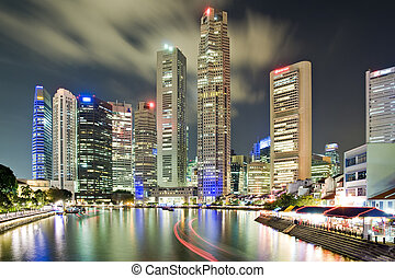 Singapore CBD and Boat quay seen from South Bridge Road