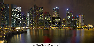 Singapore Central Business District at Night - Singapore...