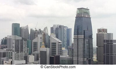 Singapore Central Business District Cityscape and Skyline 1080p Panning