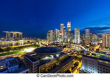Singapore Central Business District Cityscape at Blue Hour