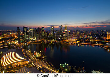 Singapore Central Business District Skyline by River at Blue Hour