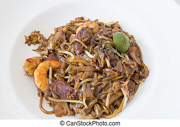 Singapore Char Kway Teow Rice Noodle Stir Fry with Prawns...