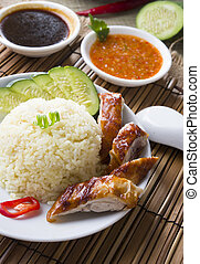 singapore chicken rice , traditional singaporean food with ...