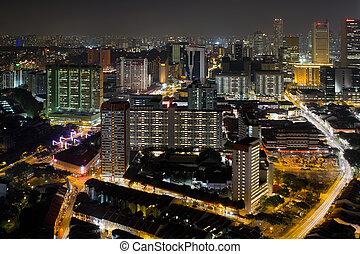 Singapore Chinatown Cityscape at Night