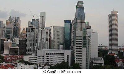 Singapore City Pano View Closeup - Singapore City Skyline...
