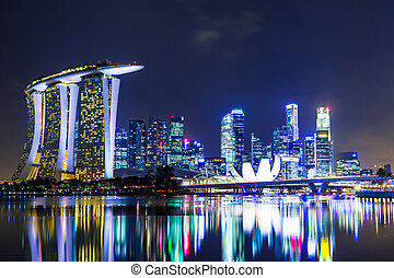 Singapore city skyline at night