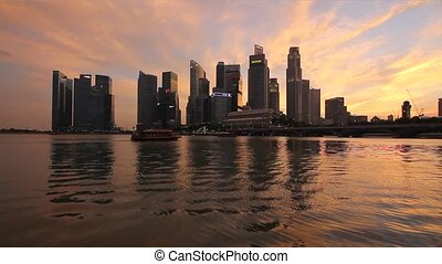 Singapore City Skyline at Sunset - Singapore City Skyline...