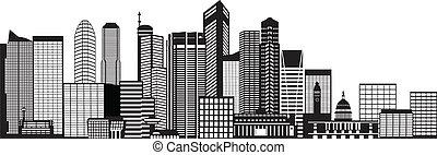 Singapore City Skyline Black and White Illustration - ...