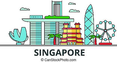 Singapore city skyline. Buildings, streets, silhouette, architecture, landscape, panorama, landmarks. Editable strokes. Flat design line vector illustration concept. Isolated icons on white background