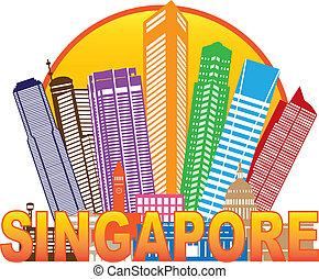 Singapore City Skyline Circle Color Illustration