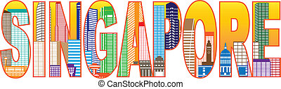 Singapore City Skyline Color Text Illustration