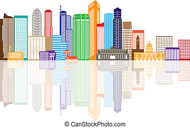 Singapore City Skyline Color with Reflection Illustration