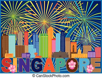 Singapore City Skyline Fireworks Color Illustration