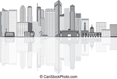 Singapore City Skyline Grayscale with Reflection Illustration