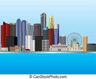 Singapore City by the Mouth of Singapore River Skyline Illustration