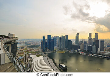Singapore city skyline Marina Sands Bay on top