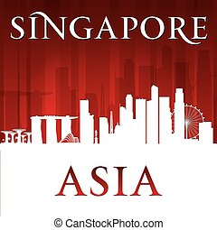 Singapore city skyline silhouette red background