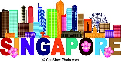 Singapore City Skyline Text Color Illustration