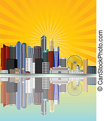 Singapore City Skyline Reflection along the Mouth of Singapore River with Sun Rays Background Illustration
