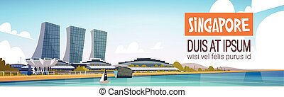 Singapore City View Skyscraper Background Skyline Cityscape with Copy Space