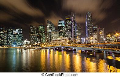 Singapore Cityscape at Night on the Marina Bay