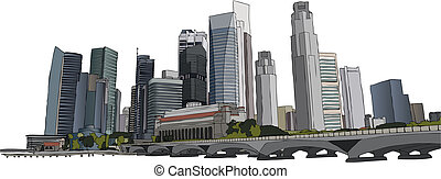Singapore cityscape - Hand drawm vector illustration of...