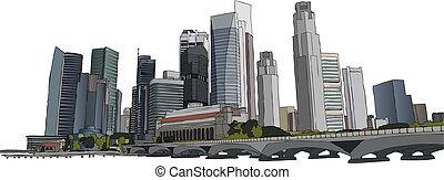 Singapore cityscape - Hand drawm vector illustration of...