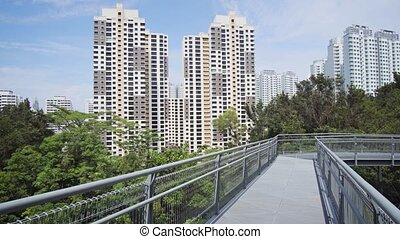 Highrise condominiums as seen over the treetops from an elevated catwalk at Telok Blangah Hill Park in Singapore. 4k footage 2160p