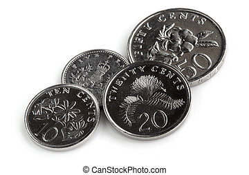 Singapore Coins Isolated on White