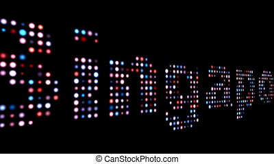 SIngapore colorful led text over black