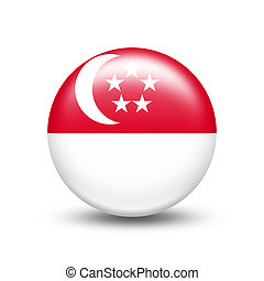 Singapore country flag in sphere with white shadow