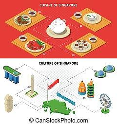 singapore, cultura, cucina, 2, isometrico, bandiere