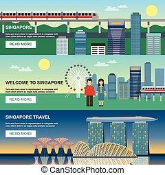 Singapore Culture 3 Flat Banners Set