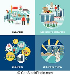 Singapore Culture 4 Flat Icons Composition