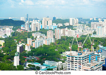 Singapore development - Construction site in a new districts...