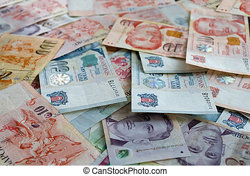 Singapore dollars - Money background from Various nominal...