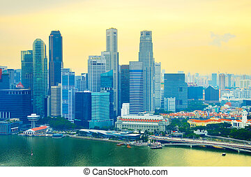 Singapore Downtown at sunset, skyline