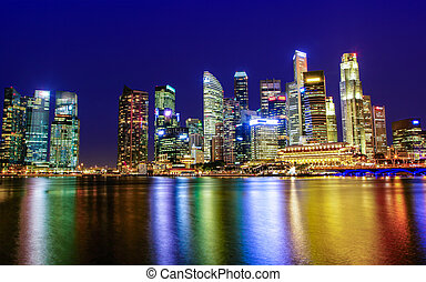Singapore Downtown City Business District Skyline at Sunset Blue Hour