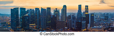 Singapore downtown skyscrapers at sunset