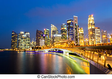 Singapore downtown Sunset
