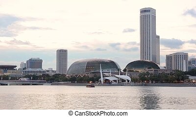 Singapore downtown view - sunset view of Singapore downtown...