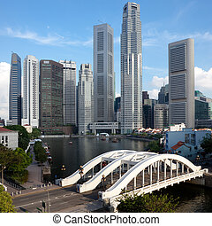 Singapore financial district framed by Elgin Bridge and ...