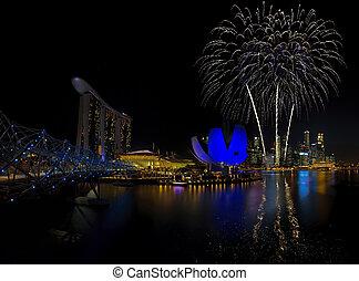 Singapore Fireworks - Fireworks over Marina bay in Singapore...