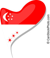 singapore flag button heart shape. vector