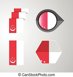 Singapore flag design set vector