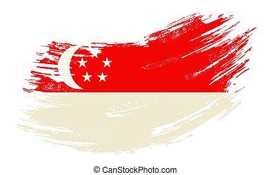 Singapore flag grunge brush background. Vector illustration.