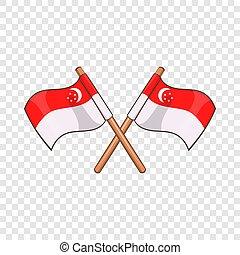 Singapore flag icon, cartoon style