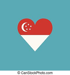 Singapore flag icon in a heart shape in flat design