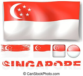 Singapore flag in different designs