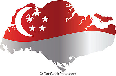 Singapore Flag in Map Silhouette Isolated Illustration -...